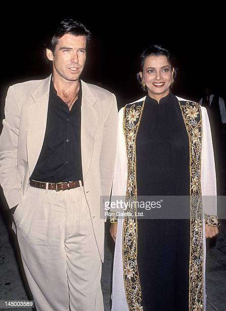 Actor Pierce Brosnan and actress Peris Khambatta on December 4 1993 dine at Spago in West Hollywood California