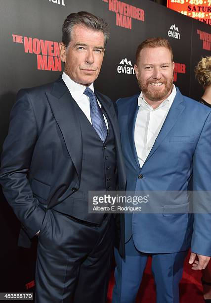Actor Pierce Brosnan and CEO of Relativity Media Ryan Kavanaugh arrive to the World Premiere of Relativity Media's The November Man at the TCL...