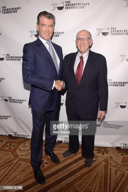 Actor Pierce Brosnan and Chemotherapy Foundation Chair Director Dr Franco Muggia attend the 2018 Innovation Gala where Chemotherapy Foundation honors...