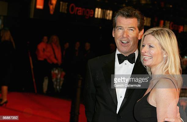 Actor Pierce Brosnan and daughter Charlotte arrive at The Orange British Academy Film Awards at the Odeon Leicester Square on February 19 2006 in...