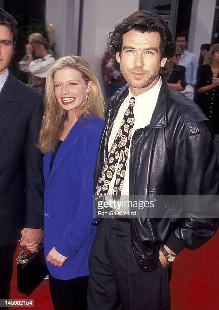 Actor Pierce Brosnan and daughter Charlotte Brosnan attend the Robin Hood Prince of Thieves Westwood Premiere on June 10 1991 at Mann Village Bruin...