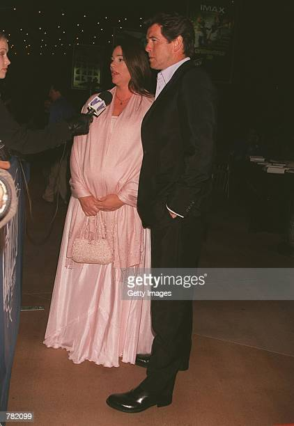 Actor Pierce Brosnan and his fiancee journalist Keely Shaye Smith talk to the press at the premiere of Why Are We Here the Public Awareness Campaign...