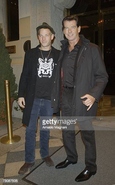 Actor Pierce Brosnan and his son Sean leave a midtown hotel January 23 2007 in New York City