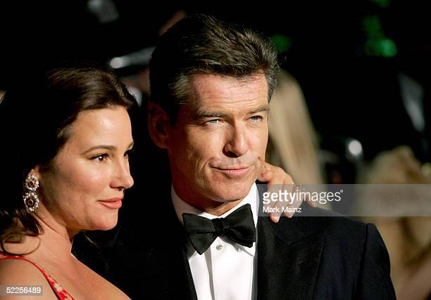 Actor Pierce Brosnan and his wife Keely Shaye Smith arrive at the Vanity Fair Oscar Party at Mortons on February 27 2005 in West Hollywood California