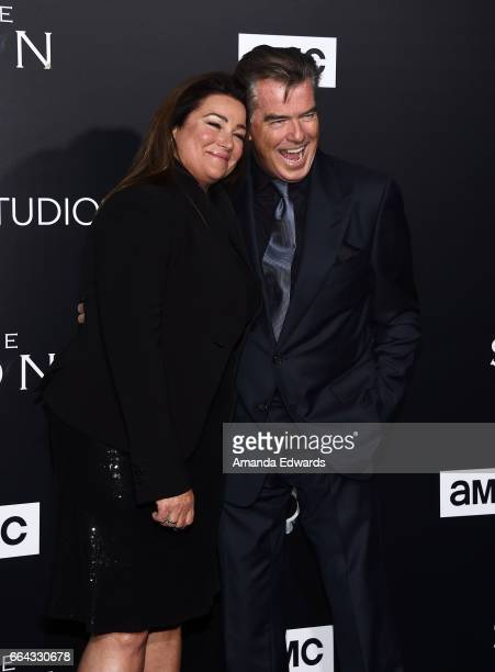 Actor Pierce Brosnan and journalist Keely Shaye Smith arrive at the premiere of AMC's The Son at ArcLight Hollywood on April 3 2017 in Hollywood...