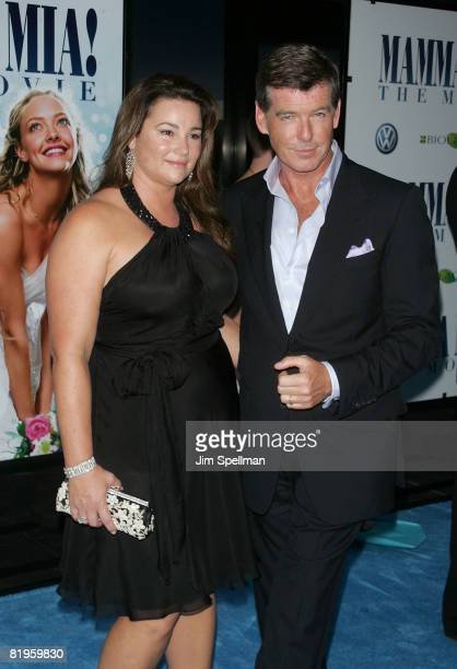 Actor Pierce Brosnan and journalist Keely Shaye Smith attend the premiere of Mamma Mia at the Ziegfeld Theatre on July 16 2008 in New York City