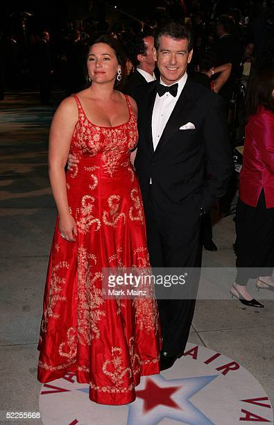 Actor Pierce Brosnan and Keely Shaye Smith arrive at the Vanity Fair Oscar Party at Mortons on February 27 2005 in West Hollywood California