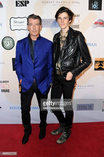 Actor Pierce Brosnan and model Dylan Brosnan attend the Sunset Marquis Hotel and Rock Against Trafficking GRAMMY After Party at Sunset Marquis Hotel...