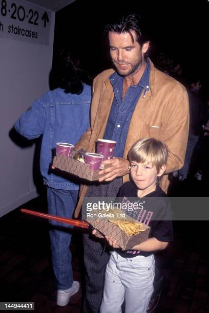 Actor Pierce Brosnan and son Sean Brosnan attend the PreShow Backstage Pizza Party for the Teenage Mutant Ninja Turtle's Coming Out of Their Shells...