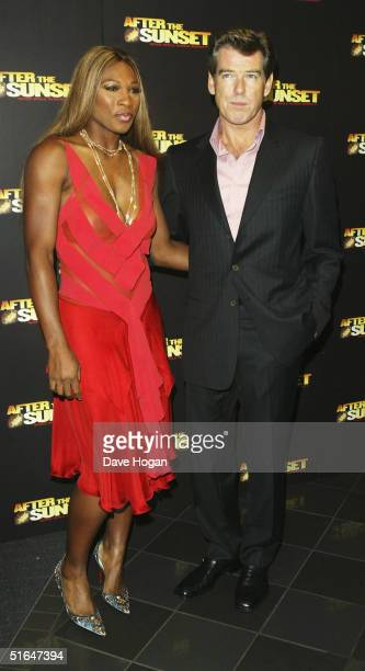Actor Pierce Brosnan and tennis player Serena Williams arrive at the World Film Premiere of 'After The Sunset' at Vue Leicester Square on November 2...
