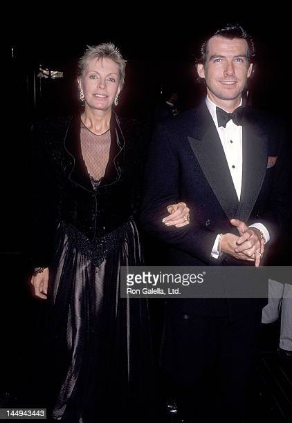 """Actor Pierce Brosnan and wife Cassandra Harris attend the """"3 Penny Opera"""" Broadway Musical Opening Night Performance on November 5, 1989 at the..."""
