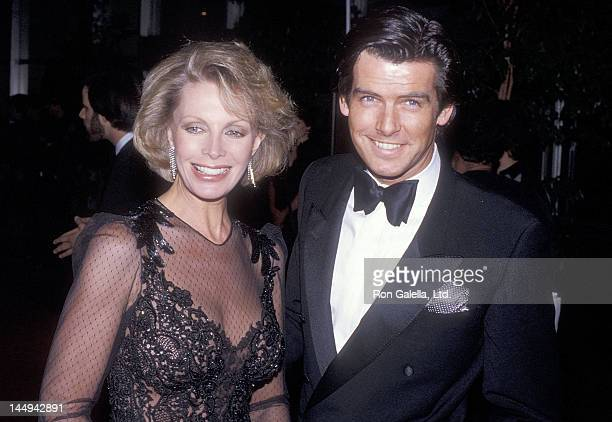 Actor Pierce Brosnan and wife Cassandra Harris attend the 42nd Annual Golden Globe Awards on January 26 1985 at the Beverly Hilton Hotel in Beverly...