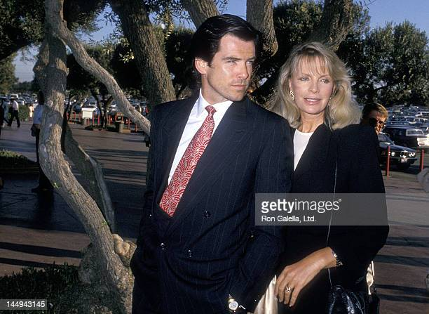 Actor Pierce Brosnan and wife Cassandra Harris attend the Hollywood Park's 50th Anniversary Celebration on June 10, 1988 at Hollywood Park Racetrack...