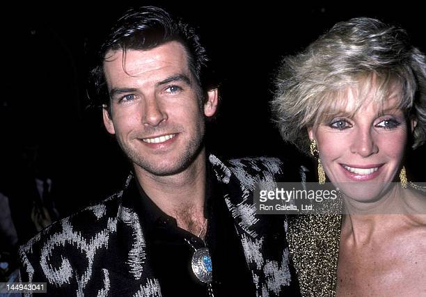 Actor Pierce Brosnan and wife Cassandra Harris attend the Nomads Premiere Party on March 6 1986 at the Limelight in New York City