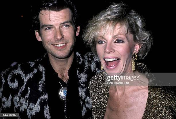 """Actor Pierce Brosnan and wife Cassandra Harris attend the """"Nomads"""" Premiere Party on March 6, 1986 at the Limelight in New York City."""