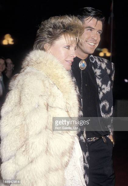 Actor Pierce Brosnan and wife Cassandra Harris attend the Out of Africa Century City Premiere on December 10 1985 at Plitt's Century Plaza Theatres...