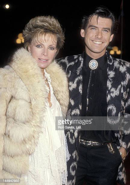 """Actor Pierce Brosnan and wife Cassandra Harris attend the """"Out of Africa"""" Century City Premiere on December 10, 1985 at Plitt's Century Plaza..."""