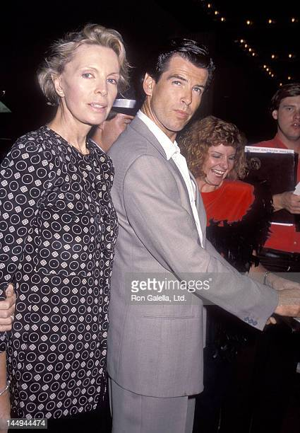 Actor Pierce Brosnan and wife Cassandra Harris attend the Postcards from the Edge Century City Premiere on September 10 1990 at Cineplex Odeon...
