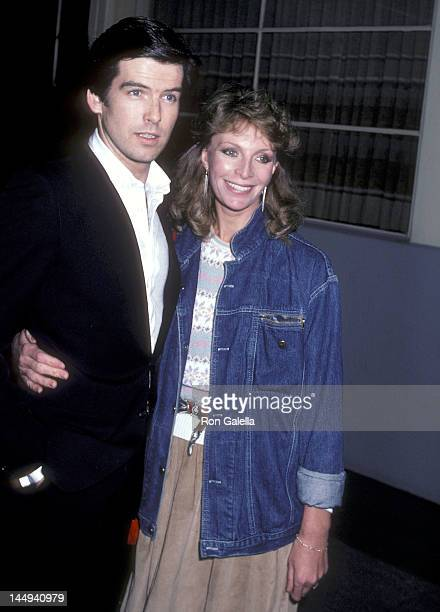 """Actor Pierce Brosnan and wife Cassandra Harris attend the """"The Year of Living Dangerously"""" Premiere Party on January 26, 1983 at the MGM Commissary..."""
