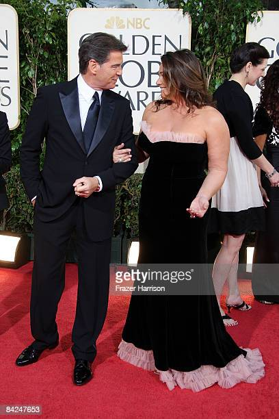 Actor Pierce Brosnan and wife Keely Shaye Smith arrive at the 66th Annual Golden Globe Awards held at the Beverly Hilton Hotel on January 11 2009 in...