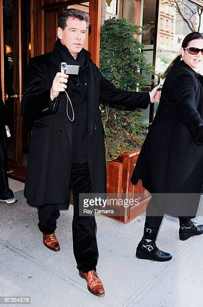 Actor Pierce Brosnan and wife Keely Shaye Smith leave Nello on March 01 2010 in New York City