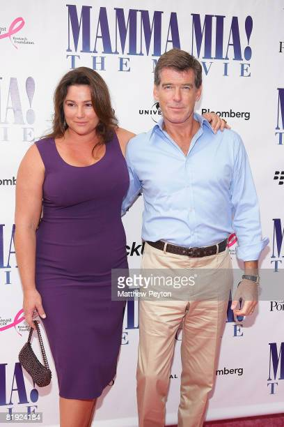 Actor Pierce Brosnan and wife Keely ShayeSmith arrive at the Southampton special screening of Mama Mia on July 13 2008 in SouthamptonNew York