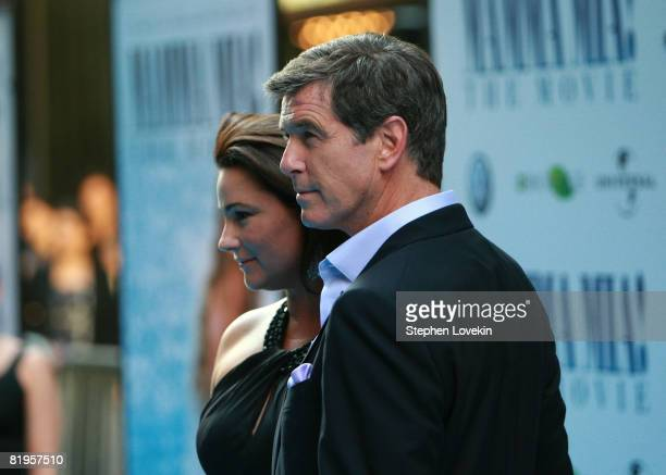 Actor Pierce Brosnan and wife Keely ShayeSmith attends the American premiere of Mamma Mia at the Ziegfeld Theatre on July 16 2008 in New York City