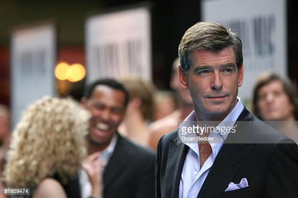 Actor Pierce Brosnan arrives at the premiere of Mamma Mia at the Ziegfeld Theatre July 16 2008 in New York City