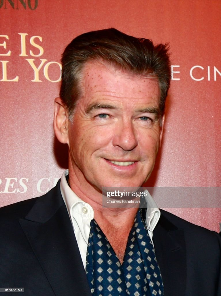 Actor Pierce Brosnan attends The Cinema Society & Disaronno screening of Sony Pictures Classics' 'Love Is All You Need' at Landmark Sunshine Cinema on April 24, 2013 in New York City.