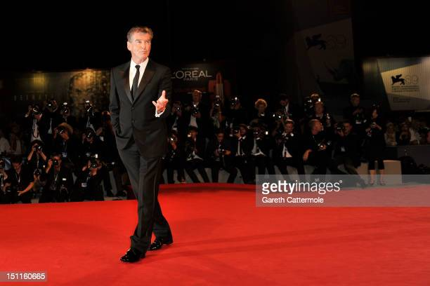 Actor Pierce Brosnan attends the Love Is All You Need Premiere during the 69th Venice Film Festival at the Palazzo del Cinema on September 2 2012 in...