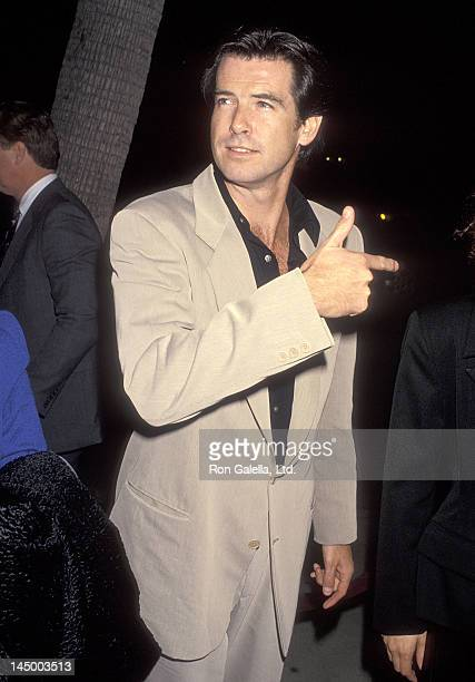 Actor Pierce Brosnan attends the 'Mrs Doubtfire' Beverly Hills Premiere on November 22 1993 at the Academy Theatre in Beverly Hills California