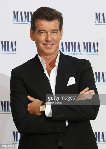 Actor Pierce Brosnan attends the photocall for Mamma Mia The Movie at the Adlon Hotel on July 3 2008 in Berlin Germany