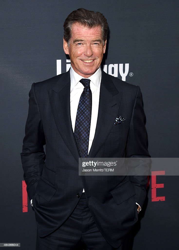 Actor Pierce Brosnan attends the premiere of the Weinstein Company's 'No Escape' at Regal Cinemas L.A. Live on August 17, 2015 in Los Angeles, California.