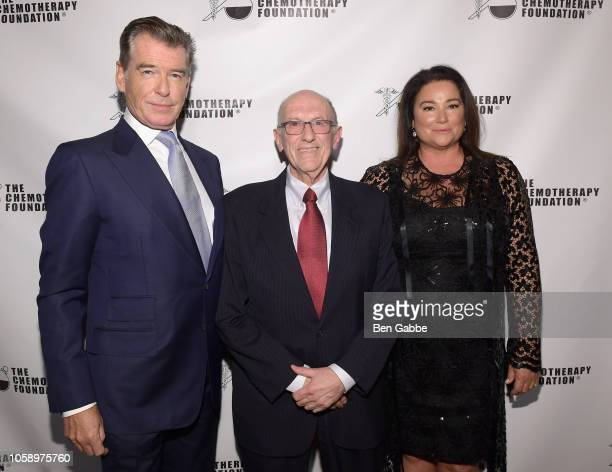 Actor Pierce Brosnan Chemotherapy Foundation Chair Director Dr Franco Muggia and journalist Keely Shaye Smith attend the 2018 Innovation Gala where...