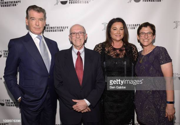 Actor Pierce Brosnan Chemotherapy Foundation Chair Director Dr Franco Muggia journalist Keely Shaye Smith and Pola Muggia Stuff attend the 2018...