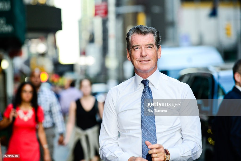Actor Pierce Brosnan enters the 'The Late Show With Stephen Colbert' taping at the Ed Sullivan Theater on September 25, 2017 in New York City.