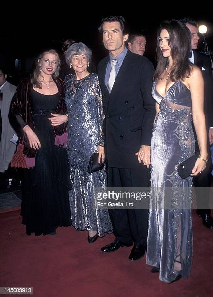Actor Pierce Brosnan girlfriend Keely Shaye Smith his daughter Charlotte Brosnan and his mother May Smith attend the Goldeneye New York City Premiere...