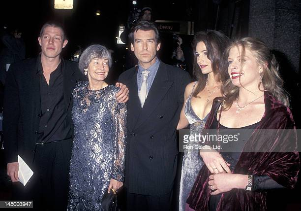 Actor Pierce Brosnan girlfriend Keely Shaye Smith his son Christopher Brosnan his daughter Charlotte Brosnan and his mother May Smith attend the...