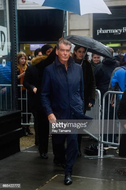 """Actor Pierce Brosnan leaves the """"AOL Build"""" taping at the AOL Studios on April 06, 2017 in New York City."""