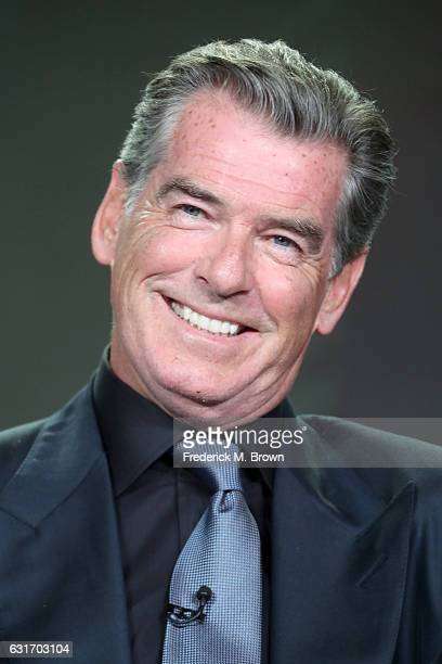Actor Pierce Brosnan of the series 'The Son' speaks onstage during the AMC portion of the 2017 Winter Television Critics Association Press Tour at...