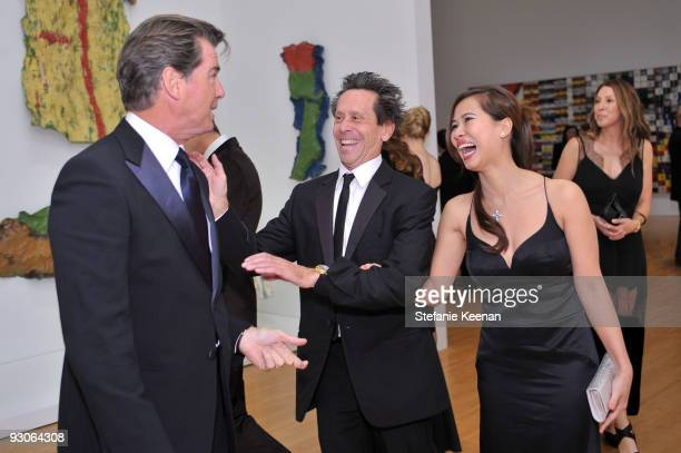Actor Pierce Brosnan producer Brian Grazer and guest attends the MOCA NEW 30th anniversary gala held at MOCA on November 14 2009 in Los Angeles...