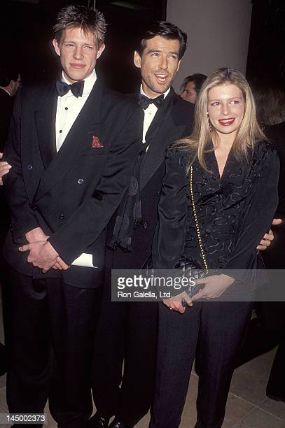 Actor Pierce Brosnan son Christopher Brosnan and daughter Charlotte Brosnan attend the 49th Annual Golden Globe Awards on January 18 1992 at Beverly...