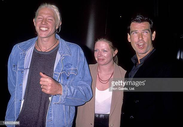 Actor Pierce Brosnan son Christopher Brosnan and daughter Charlotte Brosnan attend the Love Affair West Hollywood Premiere on October 13 1994 at the...