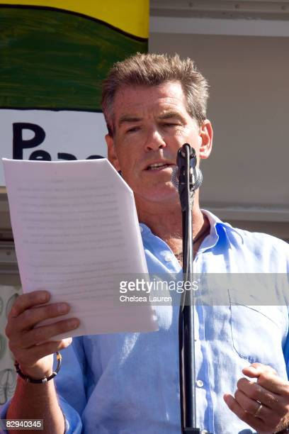 Actor Pierce Brosnan speaks on stage during Roots Shoots Day of Peace at Griffith Park on September 21 2008 in Los Angeles California