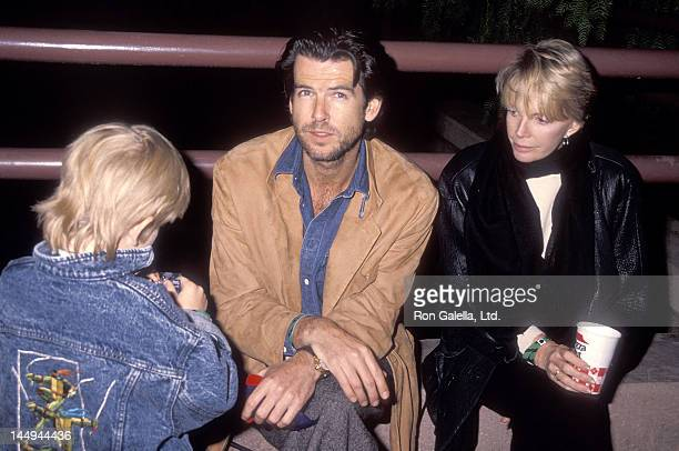 Actor Pierce Brosnan wife Cassandra Harris and son Sean Brosnan attend the PreShow Backstage Pizza Party for the Teenage Mutant Ninja Turtle's Coming...