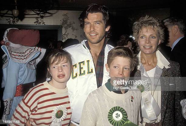 Actor Pierce Brosnan, wife Cassandra Harris, daughter Charlotte Harris and son Christopher Harris attend the First Annual Beverly Hills St. Patrick's...