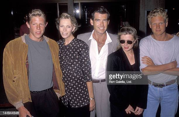 Actor Pierce Brosnan wife Cassandra Harris son Christopher Brosnan daughter Charlotte Brosnan and boyfriend Alex Smith attend the Postcards from the...