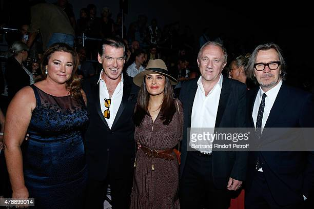 Actor Pierce Brosnan with his wife Journalist Keely Shaye Smith Actress Salma Hayek FrancoisHenri Pinault and Actor Gary Oldman attend the Saint...