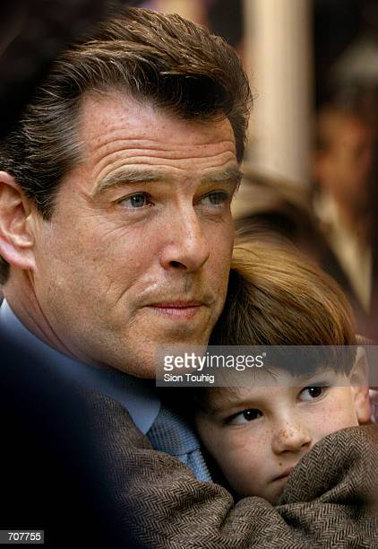 Actor Pierce Brosnan with son Dylan Thomas speaks to reporters at the opening of the musical 'Chitty Chitty Bang Bang' at the London Palladium...