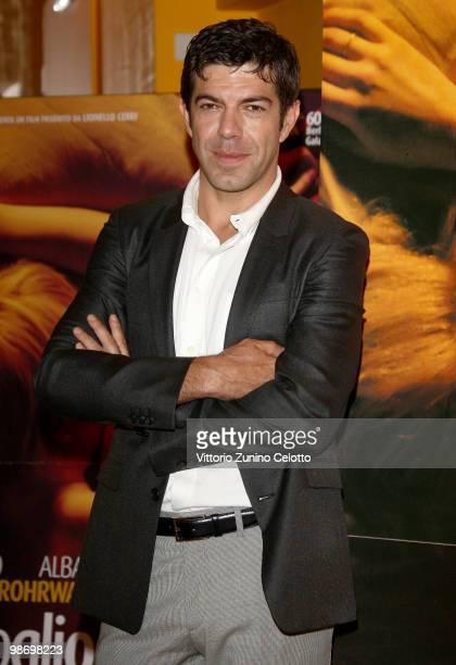Actor Pierfrancesco Favino attends 'Cosa Voglio Di Piu' photocall held at Cinema Anteo on April 27 2010 in Milan Italy